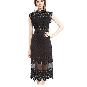 Black Lace Midi Cocktail Dress - Small